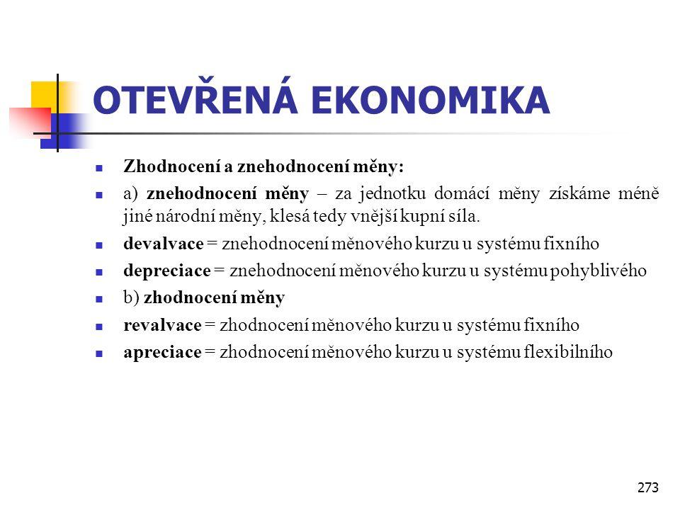 OTEVŘENÁ EKONOMIKA Zhodnocení a znehodnocení měny: