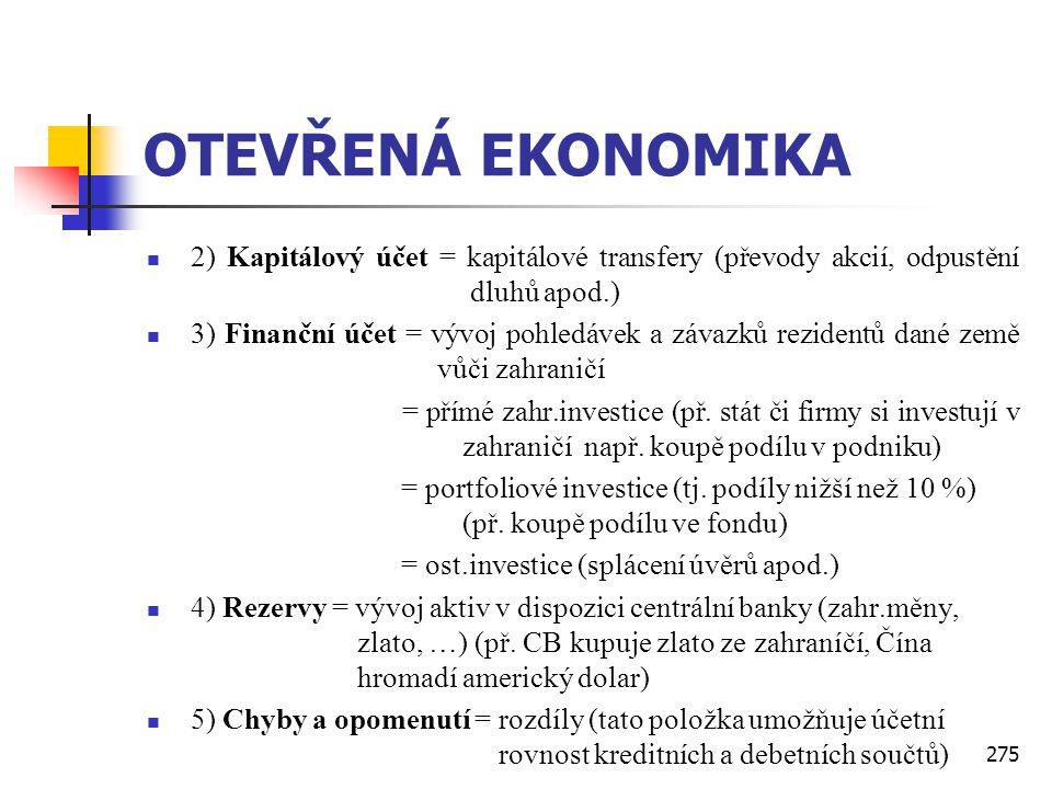 OTEVŘENÁ EKONOMIKA 2) Kapitálový účet = kapitálové transfery (převody akcií, odpustění dluhů apod.)