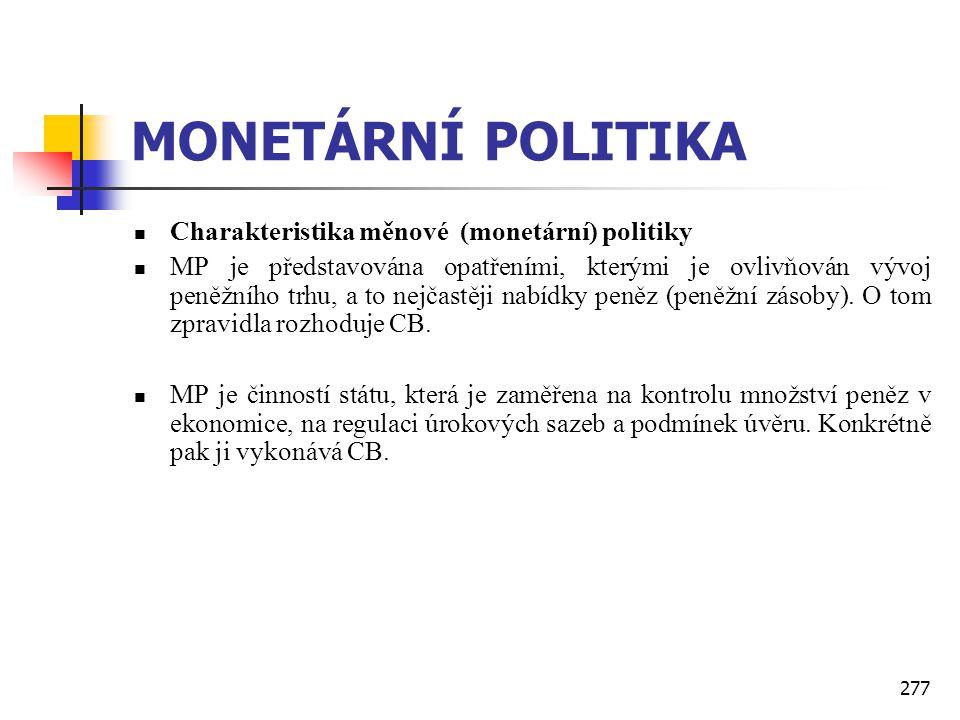 MONETÁRNÍ POLITIKA Charakteristika měnové (monetární) politiky