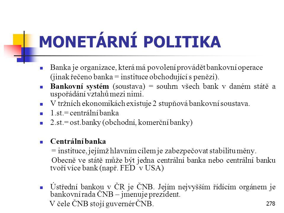 MONETÁRNÍ POLITIKA Banka je organizace, která má povolení provádět bankovní operace. (jinak řečeno banka = instituce obchodující s penězi).