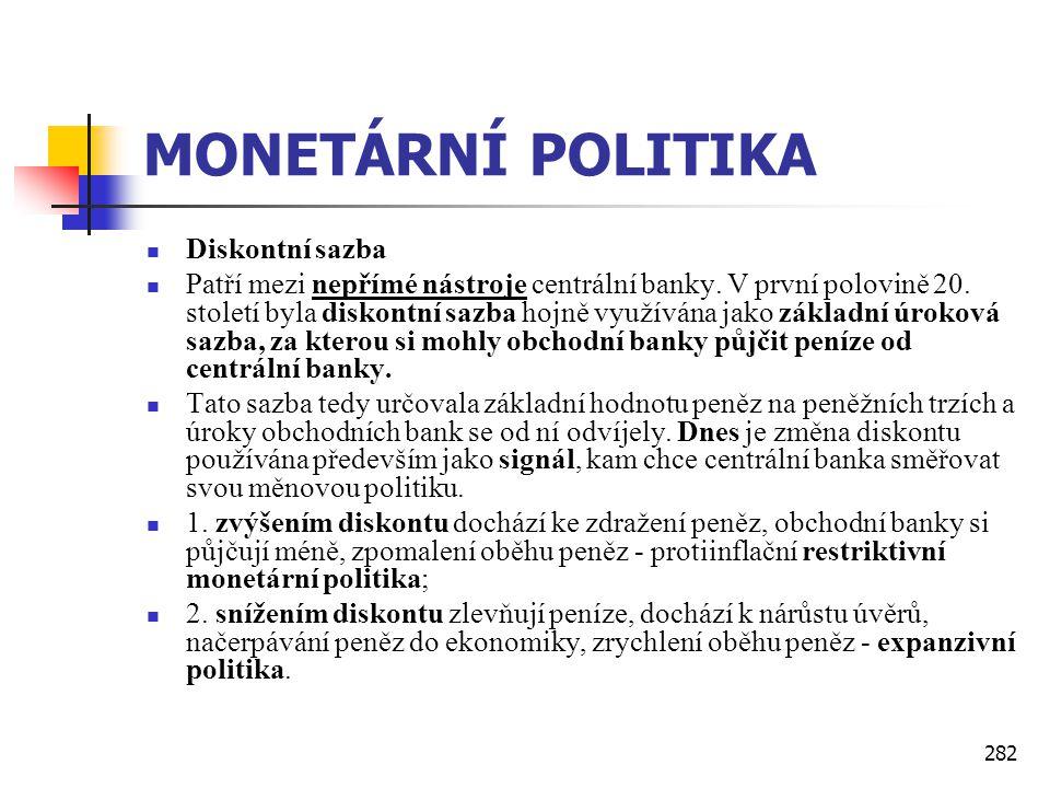 MONETÁRNÍ POLITIKA Diskontní sazba