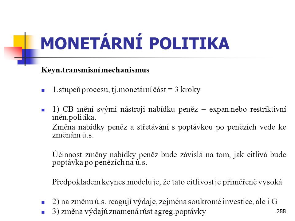MONETÁRNÍ POLITIKA Keyn.transmisní mechanismus