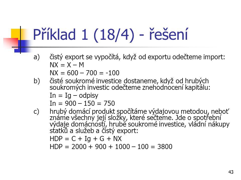 Příklad 1 (18/4) - řešení a) čistý export se vypočítá, když od exportu odečteme import: NX = X – M.