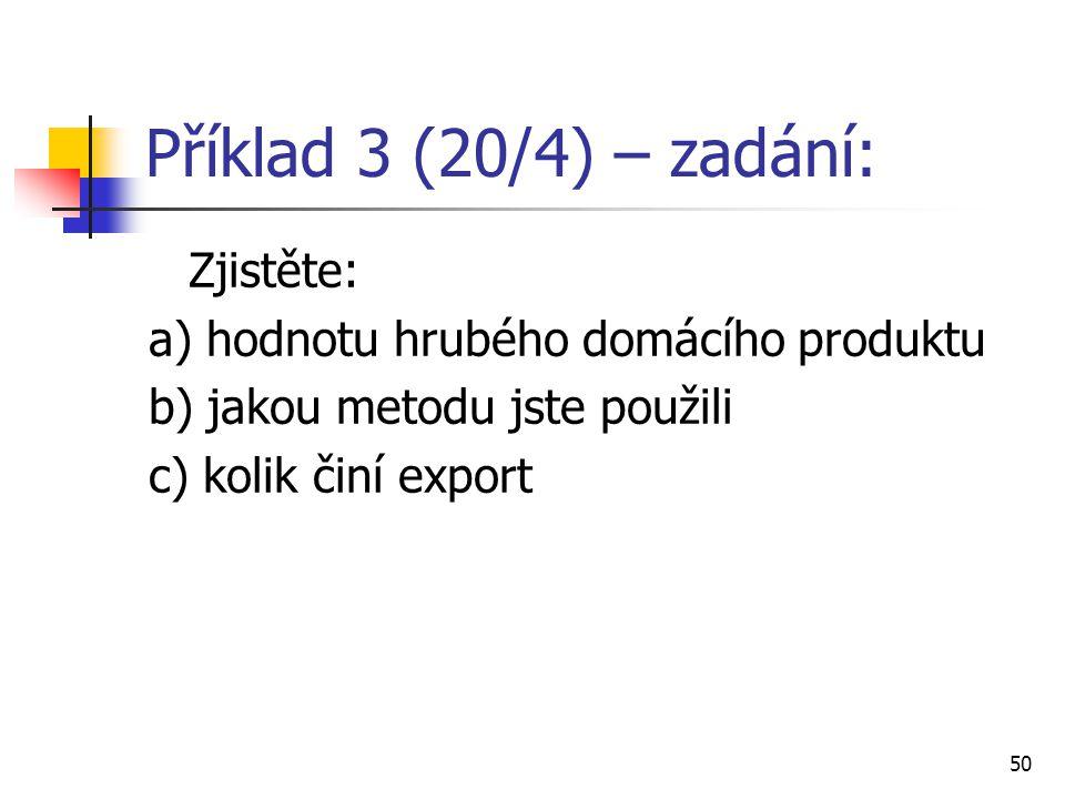 Příklad 3 (20/4) – zadání: Zjistěte: