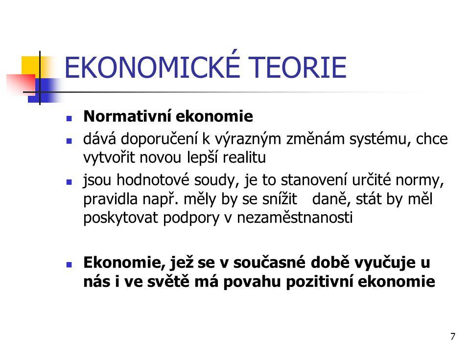 EKONOMICKÉ TEORIE Normativní ekonomie
