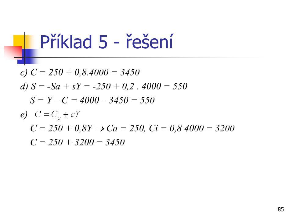 Příklad 5 - řešení c) C = 250 + 0,8.4000 = 3450