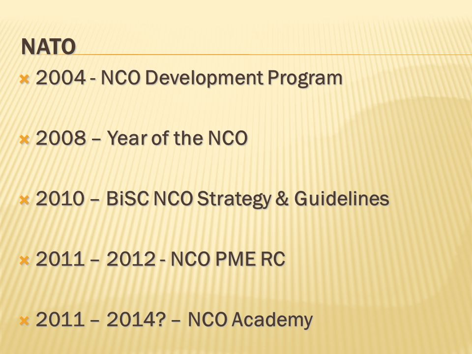 NATO 2004 - NCO Development Program 2008 – Year of the NCO