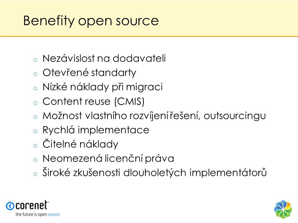 Benefity open source Nezávislost na dodavateli Otevřené standarty