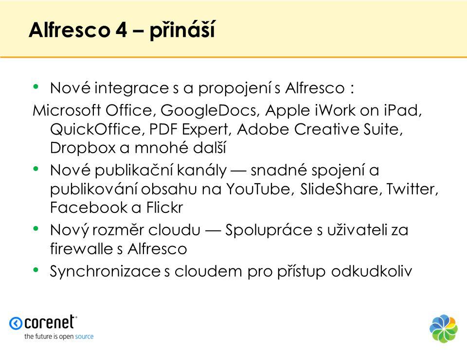 Alfresco 4 – přináší Nové integrace s a propojení s Alfresco :