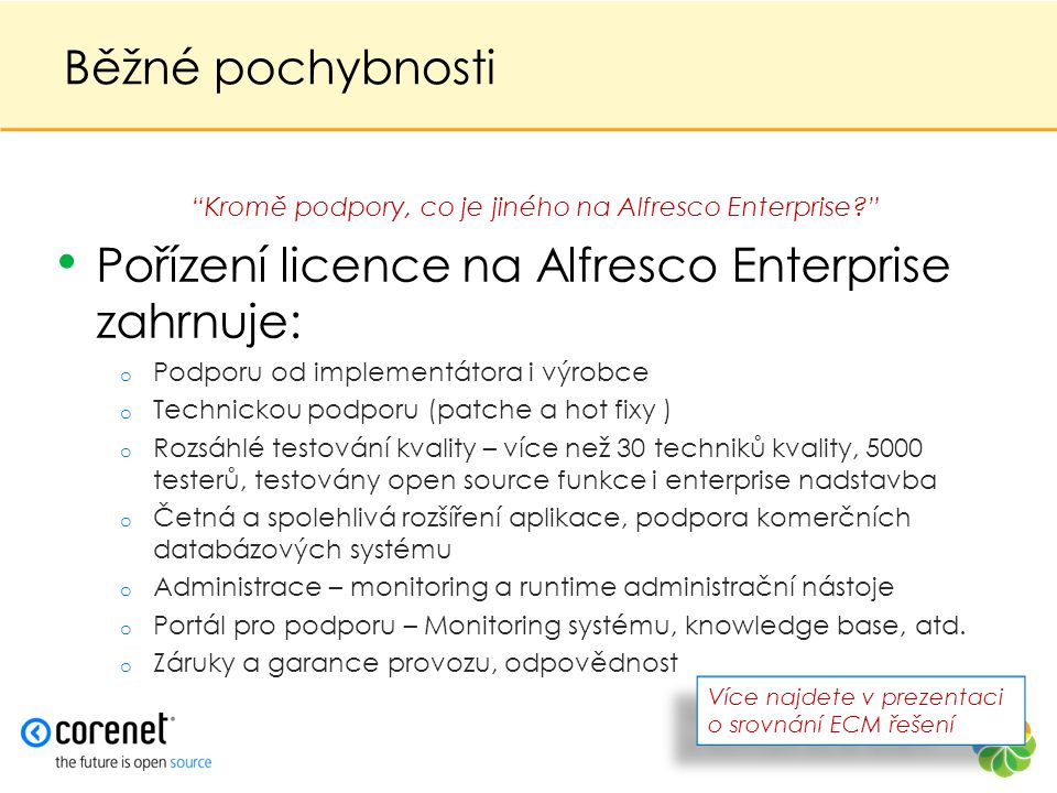 Kromě podpory, co je jiného na Alfresco Enterprise