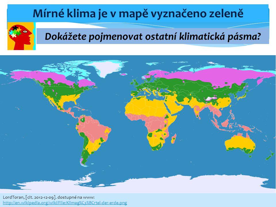 Mírné klima je v mapě vyznačeno zeleně