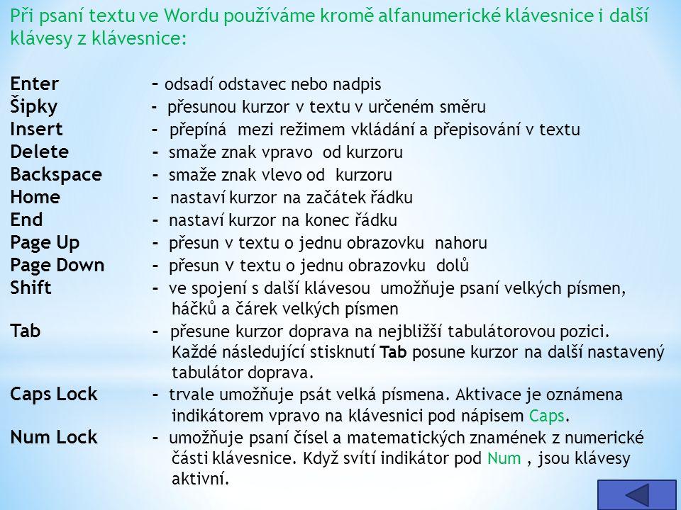 Při psaní textu ve Wordu používáme kromě alfanumerické klávesnice i další klávesy z klávesnice: Enter – odsadí odstavec nebo nadpis Šipky - přesunou kurzor v textu v určeném směru Insert - přepíná mezi režimem vkládání a přepisování v textu Delete - smaže znak vpravo od kurzoru Backspace - smaže znak vlevo od kurzoru Home - nastaví kurzor na začátek řádku End - nastaví kurzor na konec řádku Page Up - přesun v textu o jednu obrazovku nahoru Page Down - přesun v textu o jednu obrazovku dolů Shift - ve spojení s další klávesou umožňuje psaní velkých písmen, háčků a čárek velkých písmen Tab - přesune kurzor doprava na nejbližší tabulátorovou pozici.