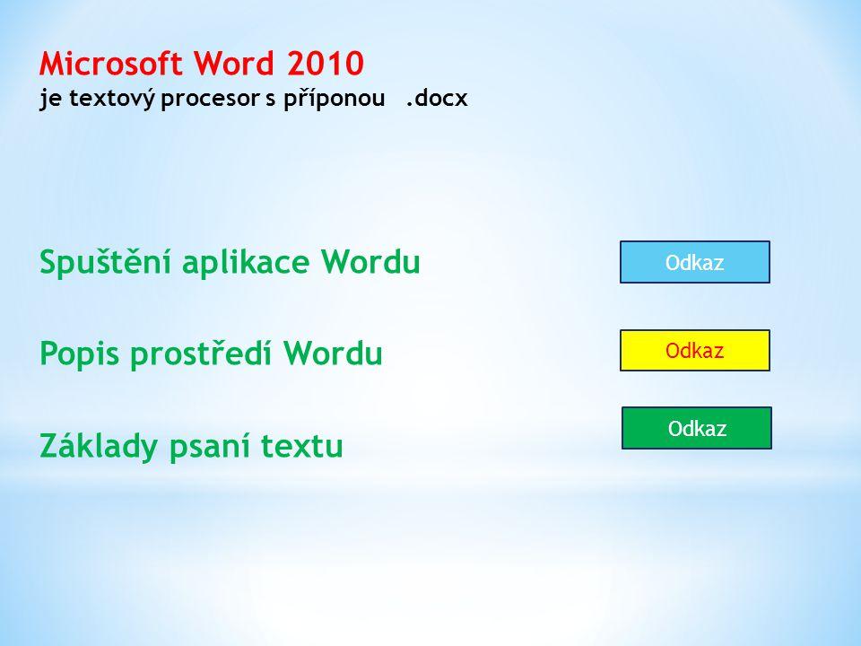Microsoft Word 2010 je textový procesor s příponou