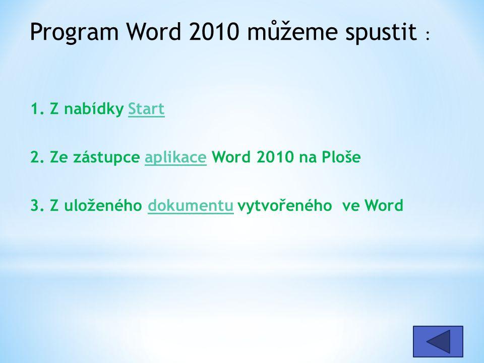 Program Word 2010 můžeme spustit : 1. Z nabídky Start 2