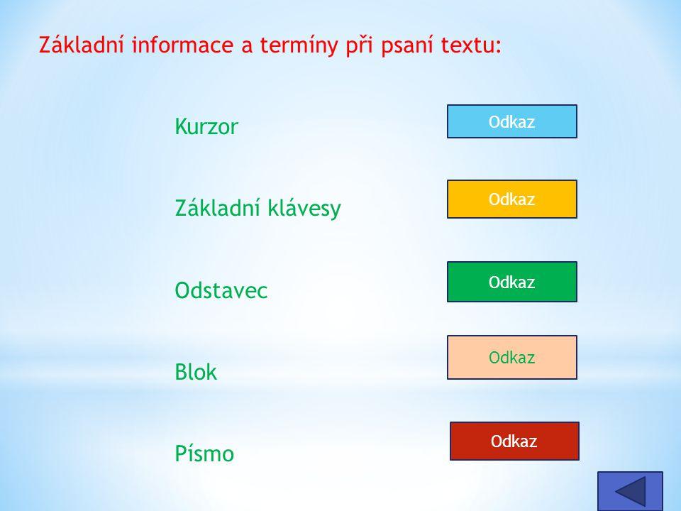 Základní informace a termíny při psaní textu: Kurzor Základní klávesy Odstavec Blok Písmo