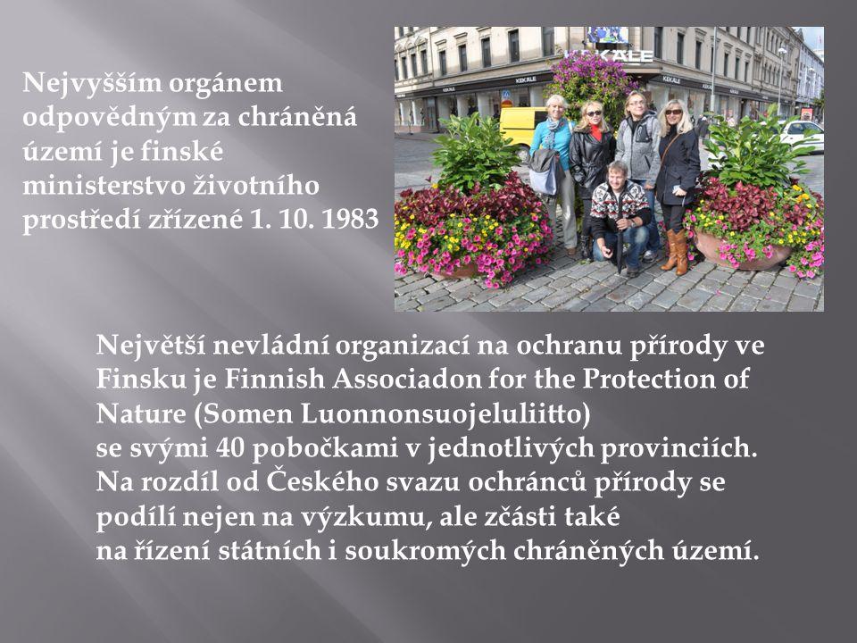 Nejvyšším orgánem odpovědným za chráněná území je finské ministerstvo životního prostředí zřízené 1. 10. 1983