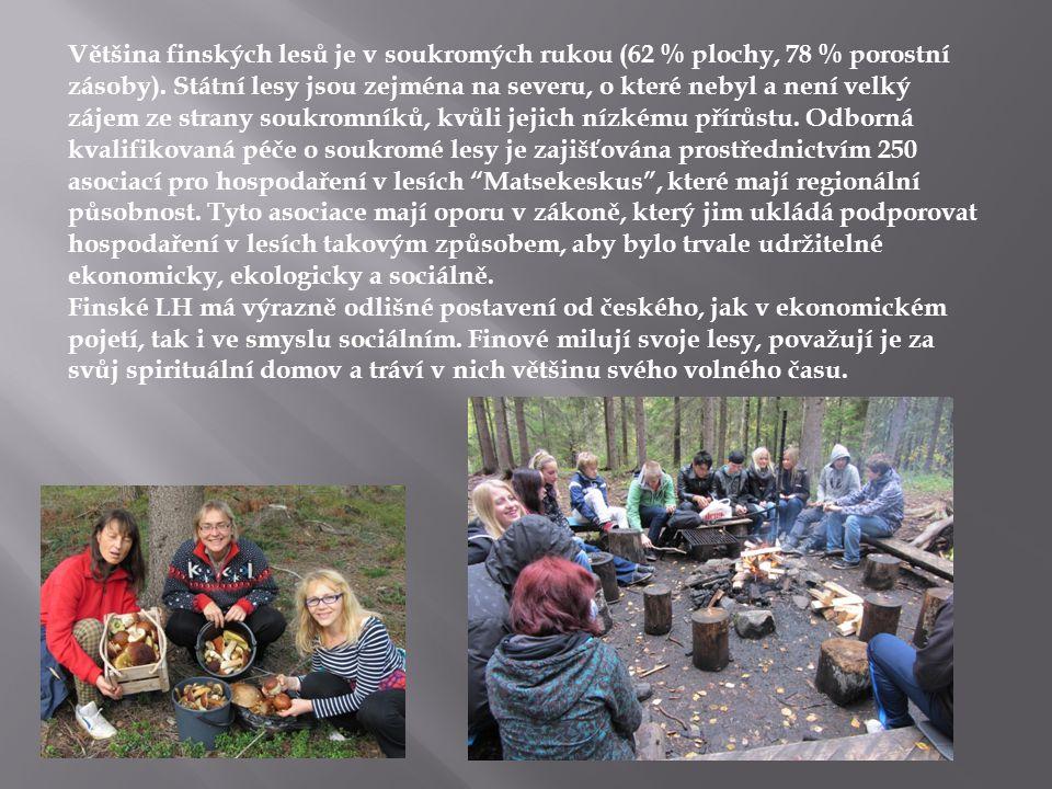 Většina finských lesů je v soukromých rukou (62 % plochy, 78 % porostní zásoby). Státní lesy jsou zejména na severu, o které nebyl a není velký zájem ze strany soukromníků, kvůli jejich nízkému přírůstu. Odborná kvalifikovaná péče o soukromé lesy je zajišťována prostřednictvím 250 asociací pro hospodaření v lesích Matsekeskus , které mají regionální působnost. Tyto asociace mají oporu v zákoně, který jim ukládá podporovat hospodaření v lesích takovým způsobem, aby bylo trvale udržitelné ekonomicky, ekologicky a sociálně.