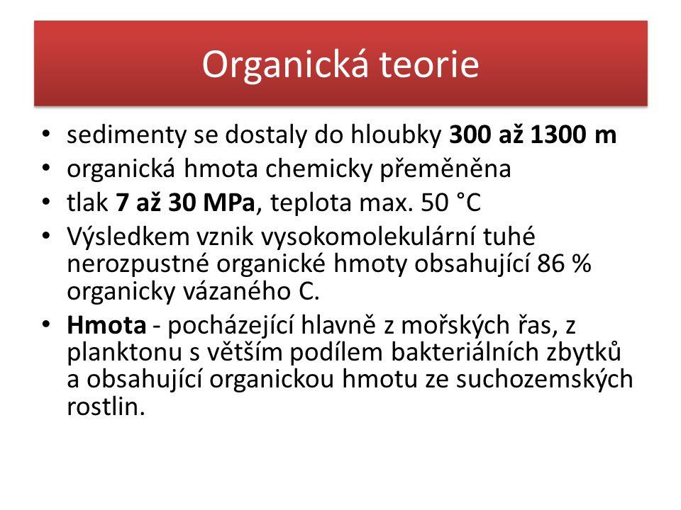Organická teorie sedimenty se dostaly do hloubky 300 až 1300 m