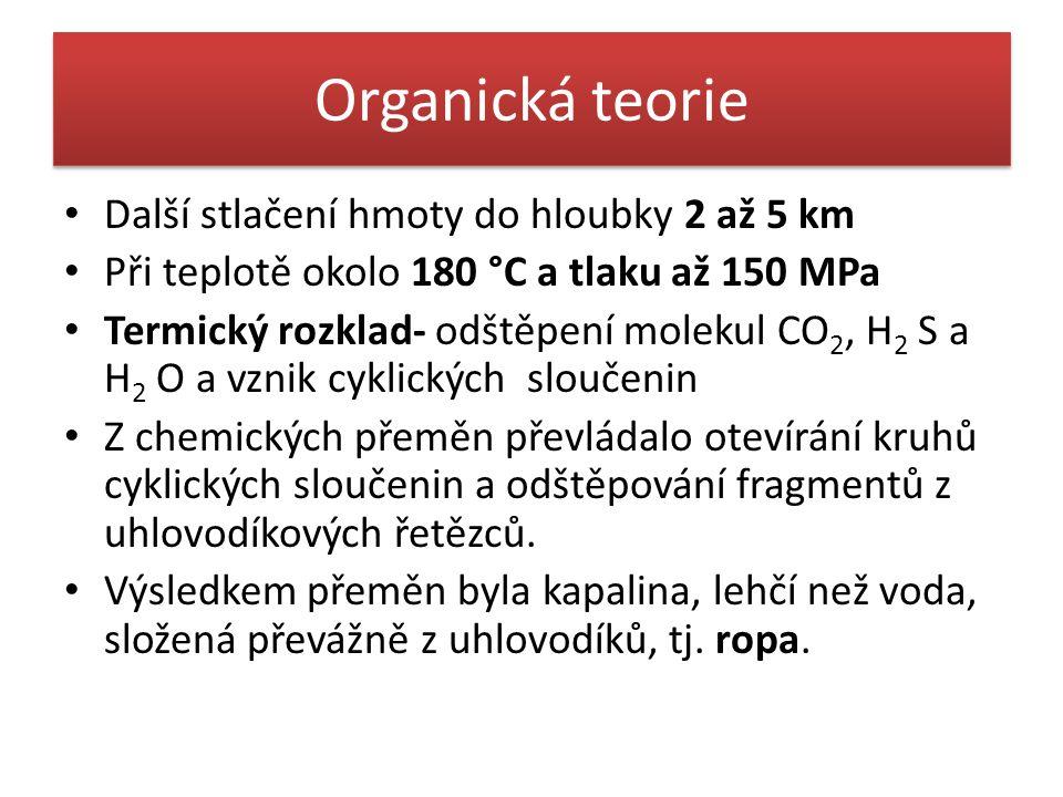 Organická teorie Další stlačení hmoty do hloubky 2 až 5 km