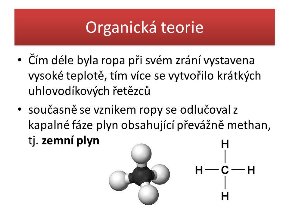 Organická teorie Čím déle byla ropa při svém zrání vystavena vysoké teplotě, tím více se vytvořilo krátkých uhlovodíkových řetězců.