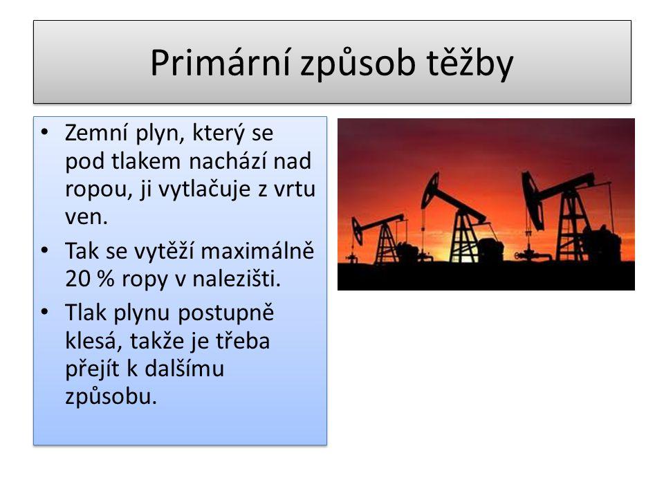 Primární způsob těžby Zemní plyn, který se pod tlakem nachází nad ropou, ji vytlačuje z vrtu ven. Tak se vytěží maximálně 20 % ropy v nalezišti.