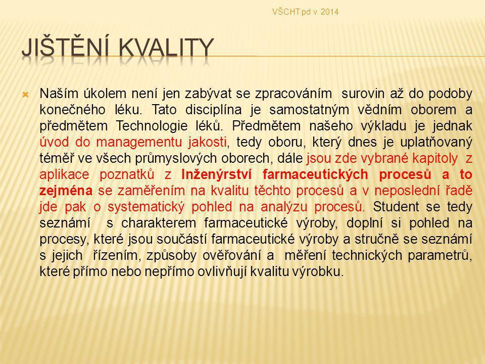 VŠCHT pd v. 2014 Jištění kvality.