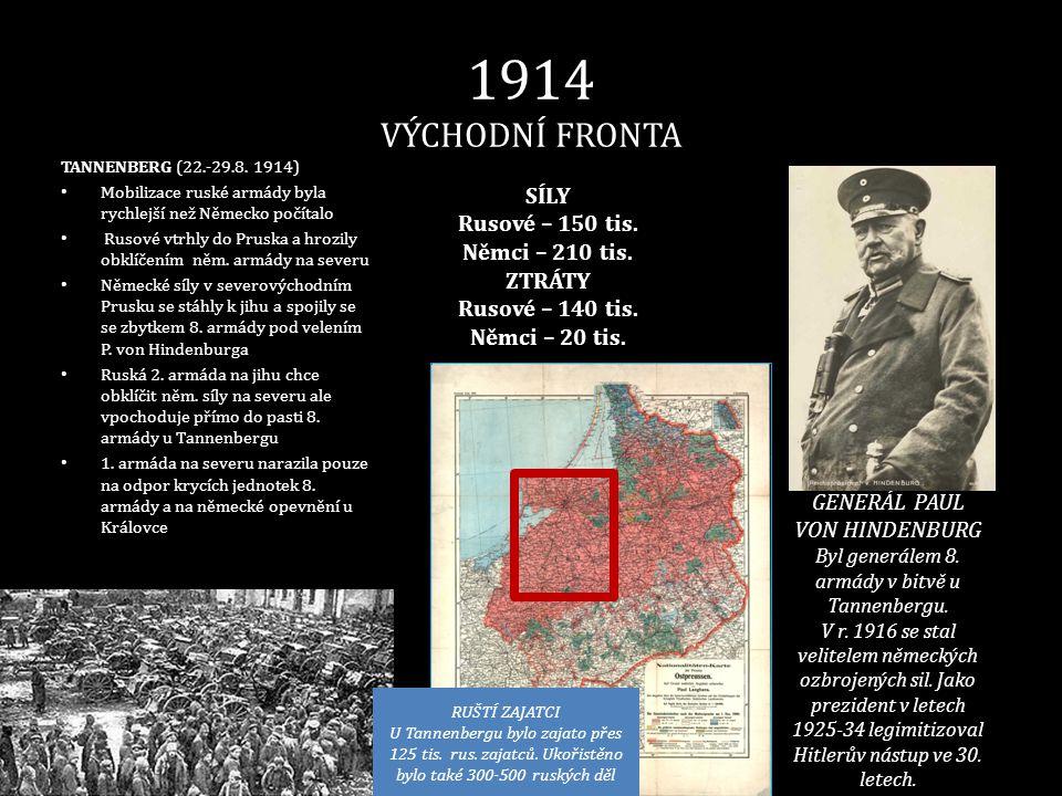 1914 VÝCHODNÍ FRONTA SÍLY Rusové – 150 tis. Němci – 210 tis. ZTRÁTY