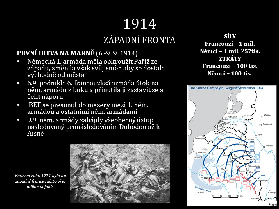 Koncem roku 1914 bylo na západní frontě zabito přes milion vojáků.