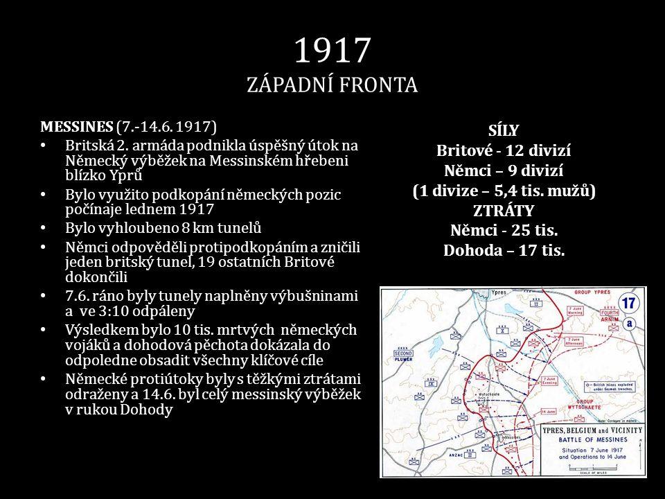 1917 ZÁPADNÍ FRONTA SÍLY Britové - 12 divizí Němci – 9 divizí