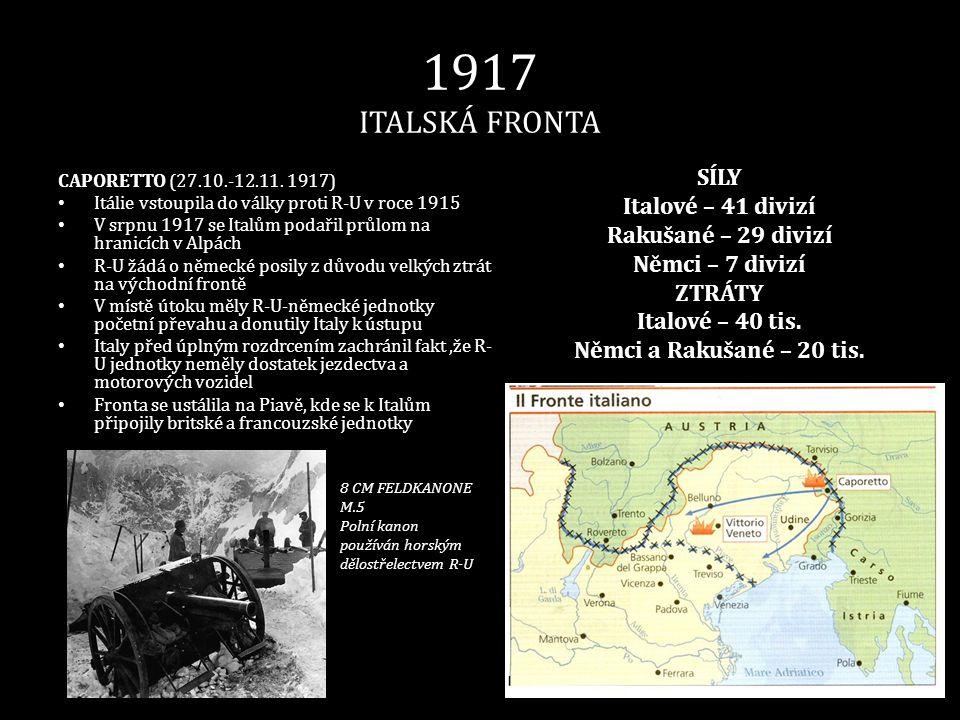 1917 ITALSKÁ FRONTA SÍLY Italové – 41 divizí Rakušané – 29 divizí