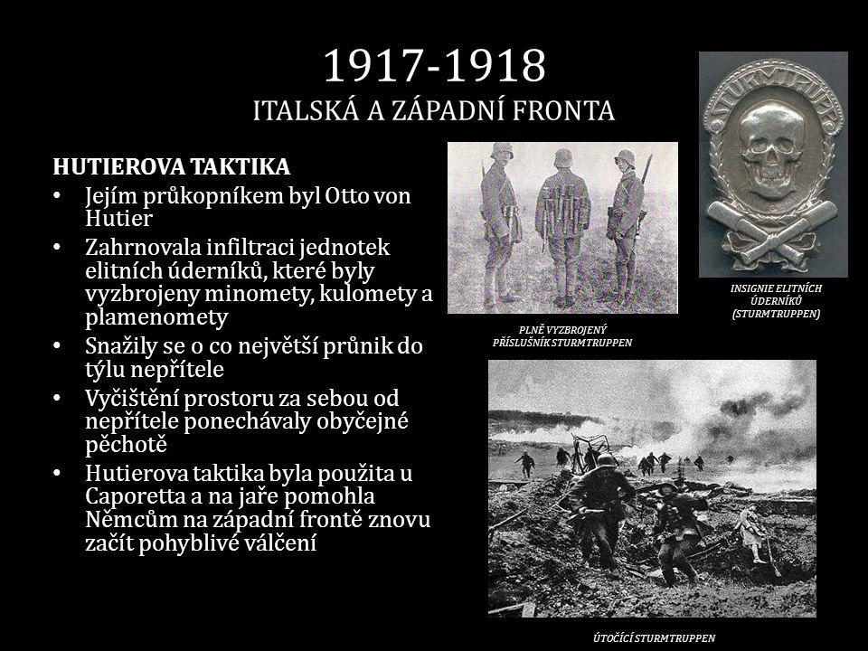 1917-1918 ITALSKÁ A ZÁPADNÍ FRONTA