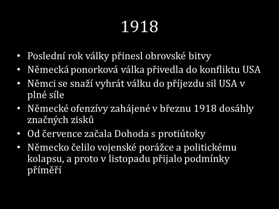 1918 Poslední rok války přinesl obrovské bitvy