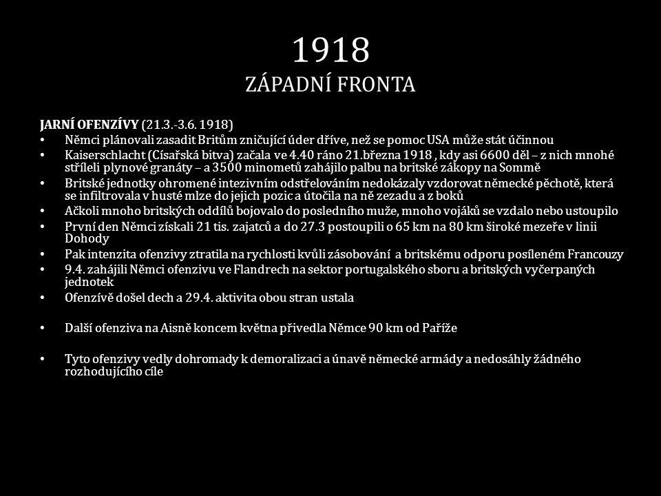 1918 ZÁPADNÍ FRONTA JARNÍ OFENZÍVY (21.3.-3.6. 1918)