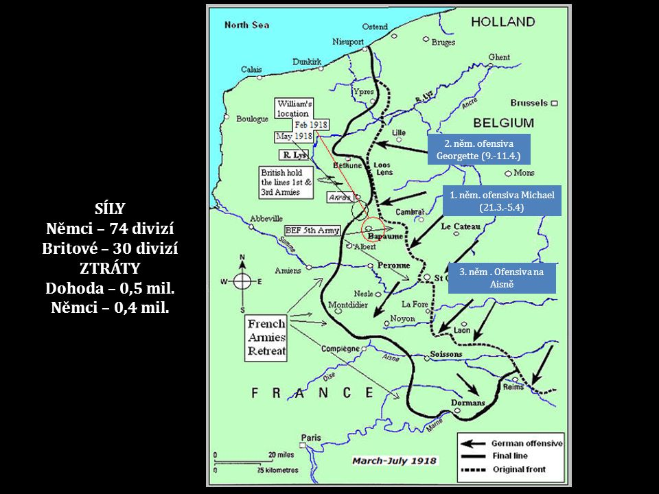 SÍLY Němci – 74 divizí Britové – 30 divizí ZTRÁTY Dohoda – 0,5 mil.
