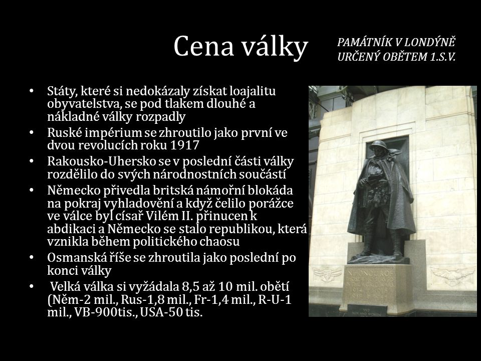 PAMÁTNÍK V LONDÝNĚ URČENÝ OBĚTEM 1.S.V.