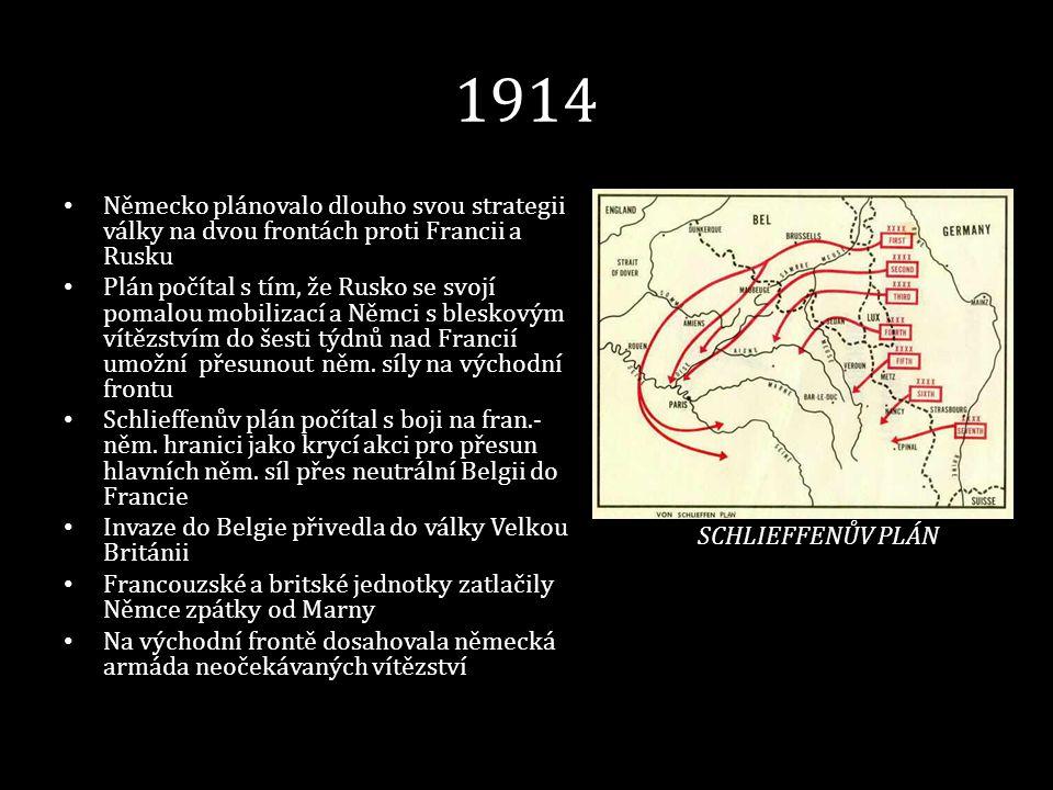 1914 Německo plánovalo dlouho svou strategii války na dvou frontách proti Francii a Rusku.