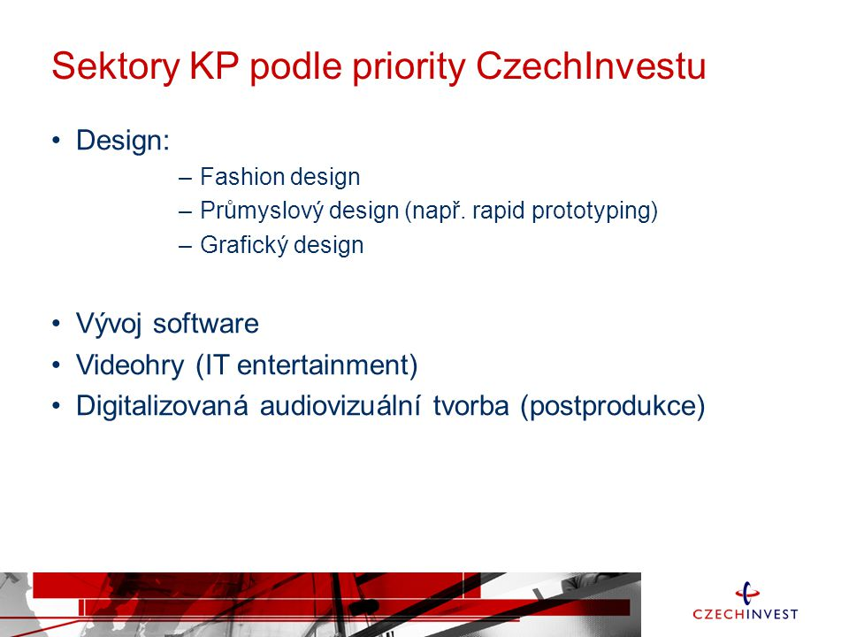 Sektory KP podle priority CzechInvestu
