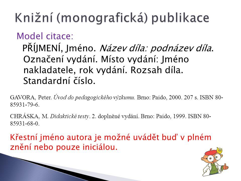 Knižní (monografická) publikace