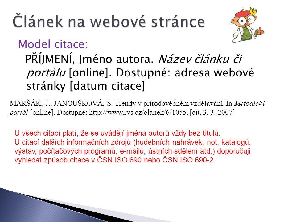Článek na webové stránce