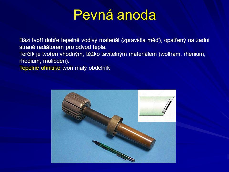 Pevná anoda Bázi tvoří dobře tepelně vodivý materiál (zpravidla měď), opatřený na zadní straně radiátorem pro odvod tepla.