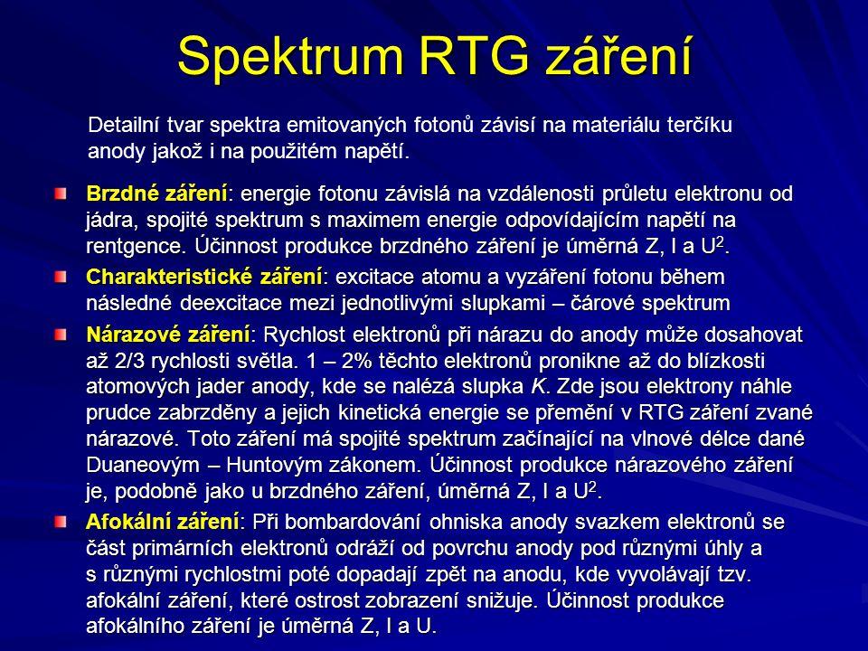 Spektrum RTG záření Detailní tvar spektra emitovaných fotonů závisí na materiálu terčíku anody jakož i na použitém napětí.