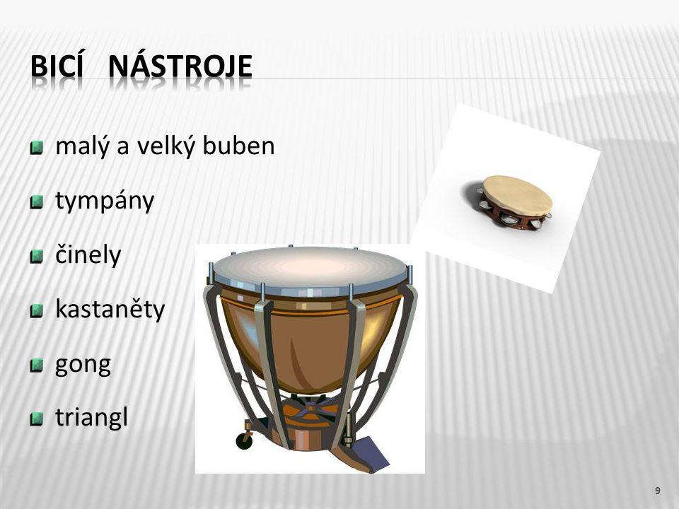 bicí nástroje malý a velký buben tympány činely kastaněty gong triangl
