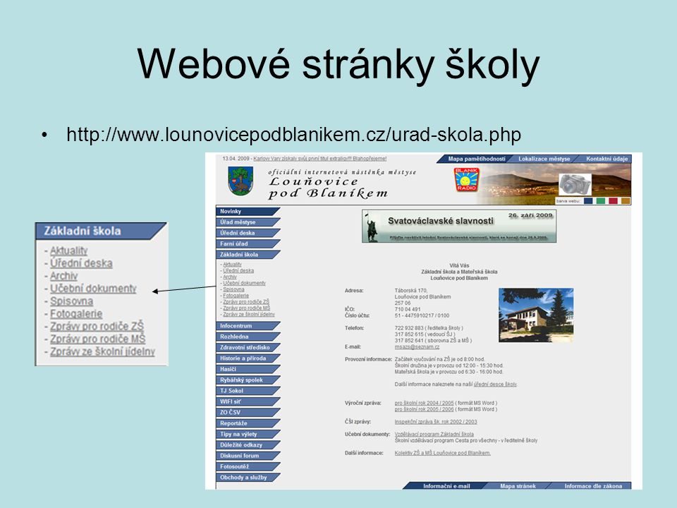Webové stránky školy http://www.lounovicepodblanikem.cz/urad-skola.php