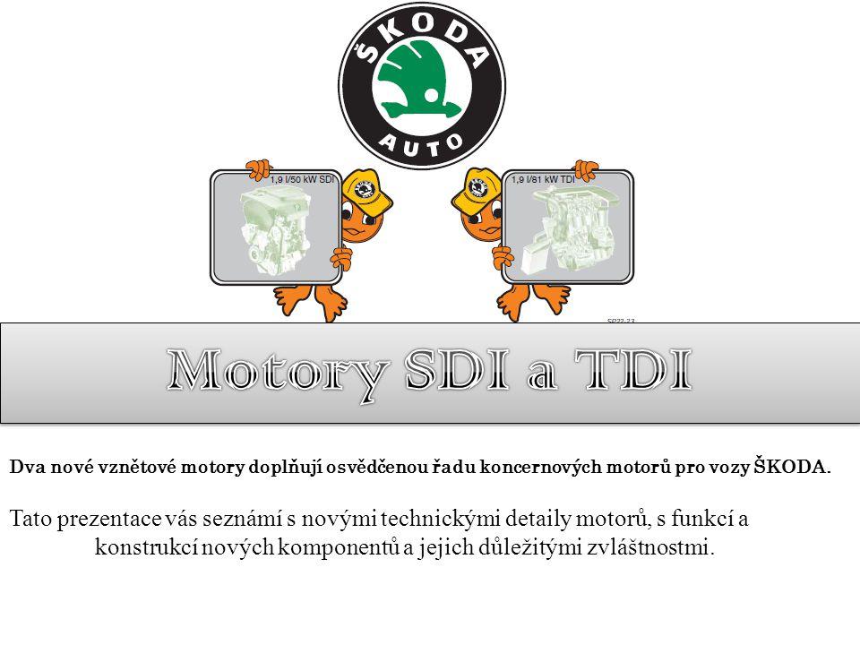 Motory SDI a TDI Dva nové vznětové motory doplňují osvědčenou řadu koncernových motorů pro vozy ŠKODA.