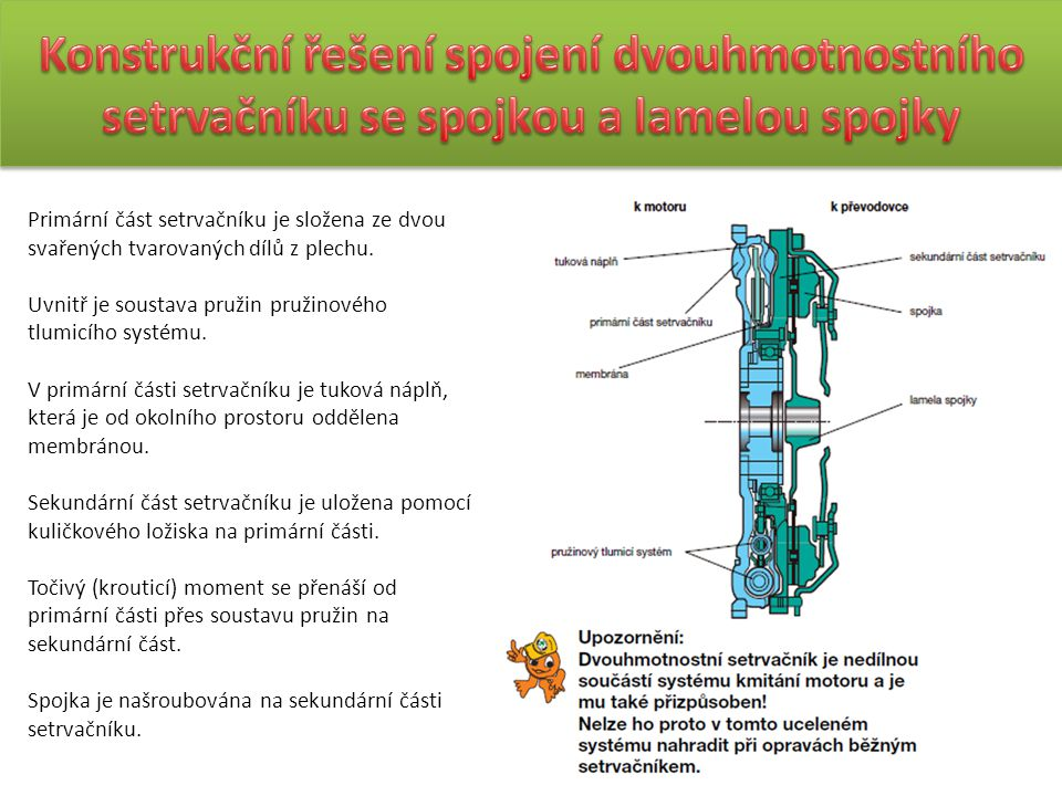 Konstrukční řešení spojení dvouhmotnostního setrvačníku se spojkou a lamelou spojky