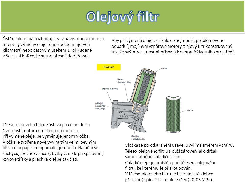 Olejový filtr Čistění oleje má rozhodující vliv na životnost motoru.