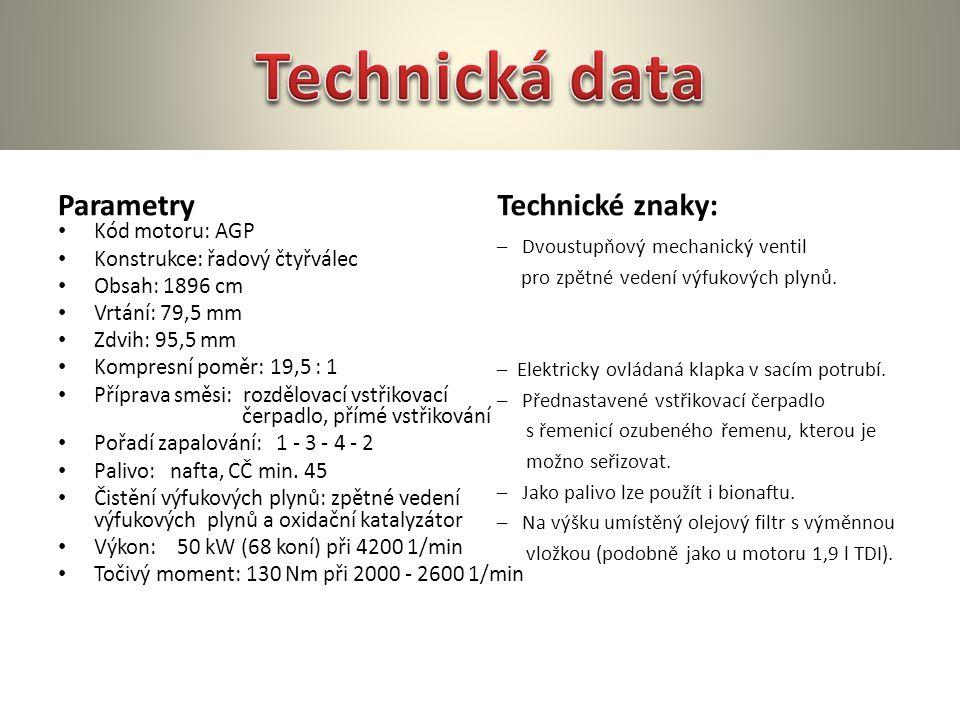Technická data Parametry Technické znaky: Kód motoru: AGP