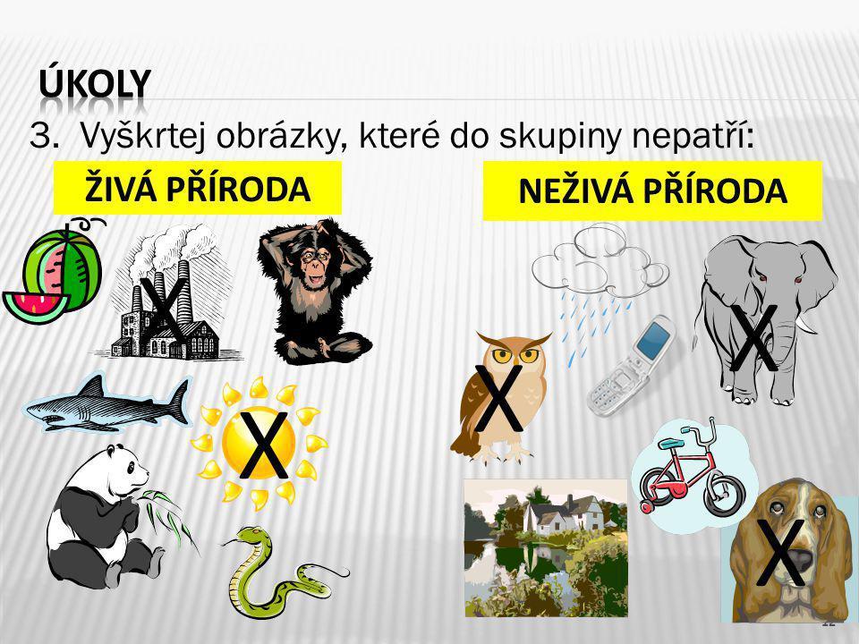 X X X X X úkoly 3. Vyškrtej obrázky, které do skupiny nepatří: