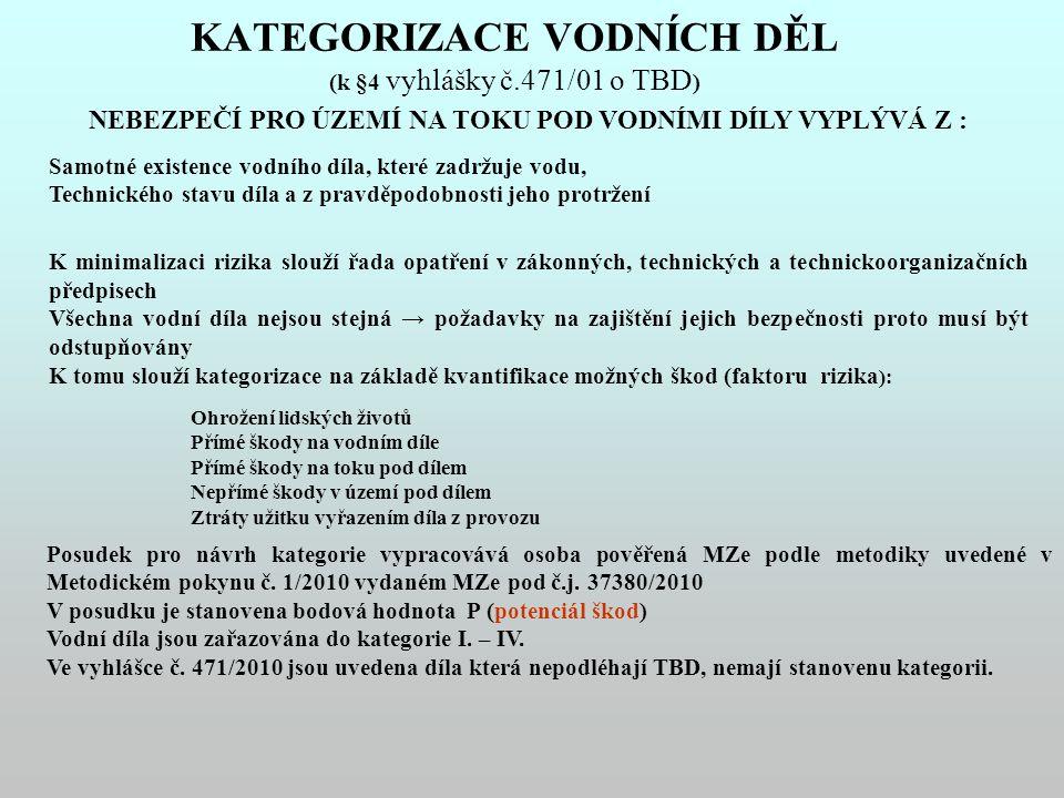 KATEGORIZACE VODNÍCH DĚL (k §4 vyhlášky č.471/01 o TBD)