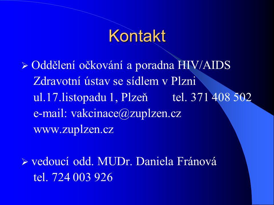 Kontakt Oddělení očkování a poradna HIV/AIDS